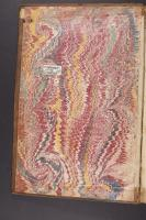 French Curl on Wide Comb trough-marbled paper, left endleaf (C.9.10)