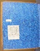 Blue brush-patterned paste paper, left endleaf [left-hand page] (F.7.5)