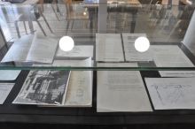 Photograph of archive material exhibited at Anarchive