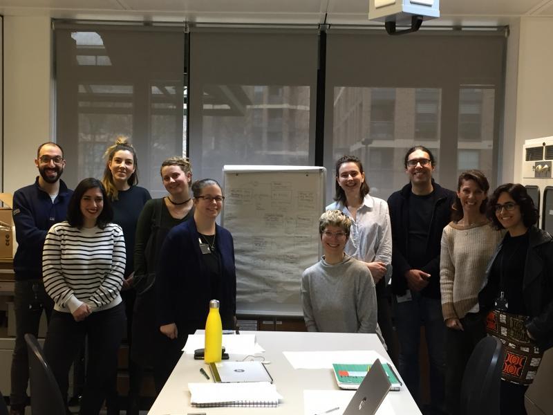 Modelling workshop participants at The National Archives conservation studio