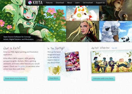 Krita website screen capture