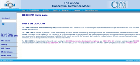 CIDOC-CRM website screenshot