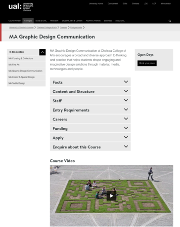 MA Graphics Design and COmmunication webpage