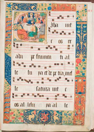1.L'Isle Adam Manuscript Collection, Vol 5 f10r, historiated initial and decorated border (Courtesy of St John's Co-Cathedral Foundation)