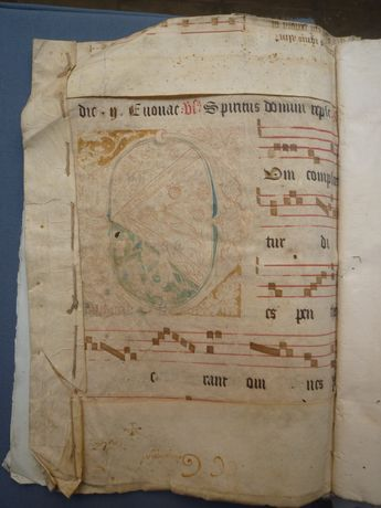 5. R504 Vol 9, Notarial Archives Valletta, Malta, inside front cover showing a fragment from an antiphonal originally having formed part of the L'Isle Adam manuscript collection (Courtesy of the Notarial Archives Valletta)