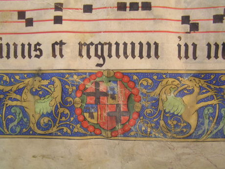 7. L'Isle Adam Manuscript Collection, Vol 1 f77r L'Isle Adam's coat of arms detail from decorated border (Courtesy of St John's Co-Cathderal Foundation)