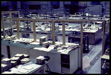 workshop set up in Biblioteca Nazionale in Florence in 1967