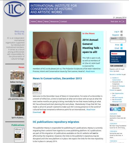 Screen capture of IIC website