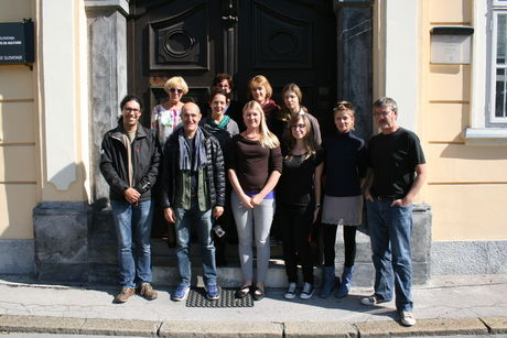 Participants of the second week outside the building of the National Archives of Slovenia.