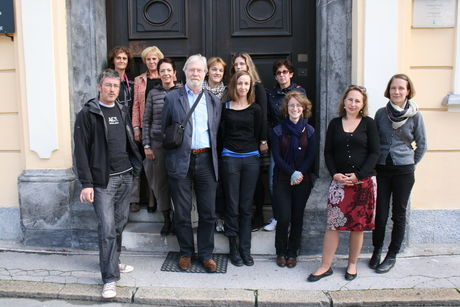 Participants of the first week outside the building of the National Archives of Slovenia.