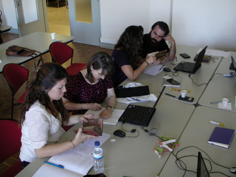 The participants working on the digital survey form