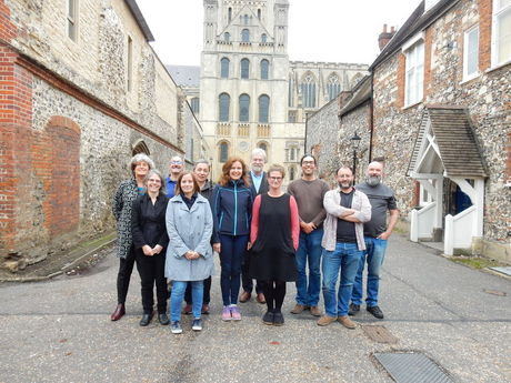 Group photo from week 1 outside Norwich cathedral
